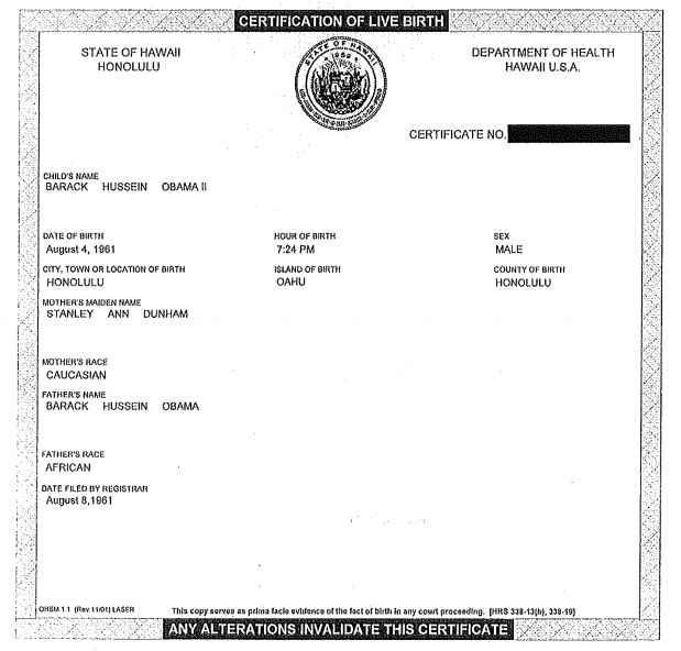 Obama's Short-form Birth Certificate, courtesy of whitehouse.gov