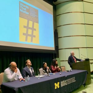 Rayid Ghani, Jonathan Lass, Lisa O. Singh, Ceren Budak, and Mike Traugott at the MIDAS symposium.