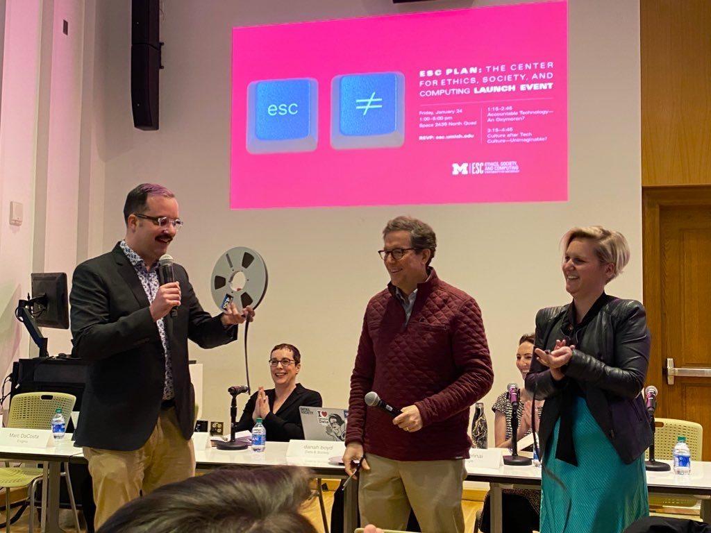 Christian Sandvig, Thomas Finholt, and Sylvia Lindtner cut the ribbon to launch the ESC Center